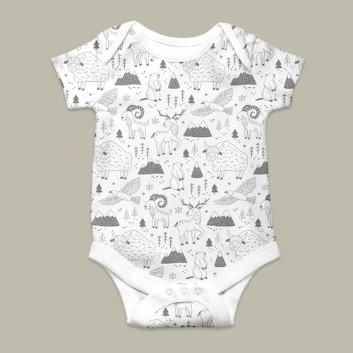 Ibex design with the title 'Winter pattern for children's clothing collection.'