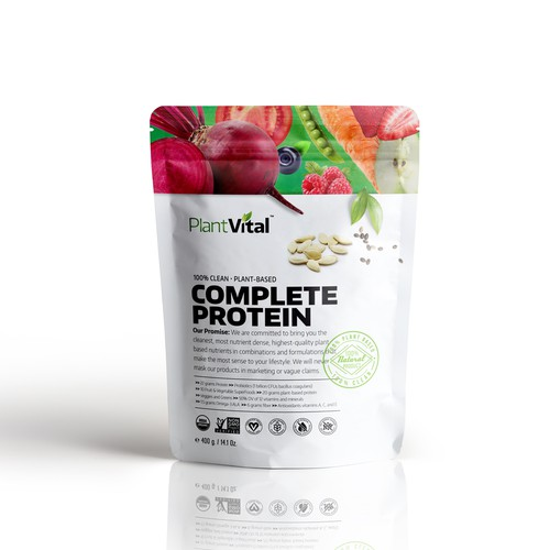 Vegetable packaging with the title 'Protein Pack'