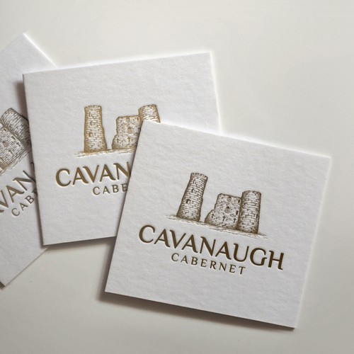 Winery logo with the title 'Hand drawn logo - CAVANAUGH CABERNET'