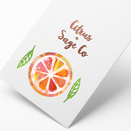 Orange brand with the title 'citrus + sage logo'