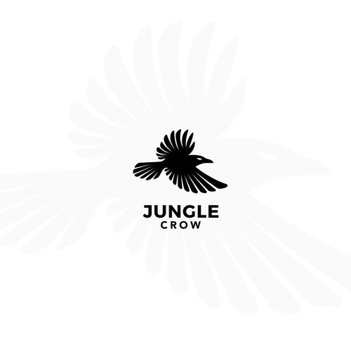 Black and white design with the title 'Minimal Logo Design for the brand Jungle Crow'
