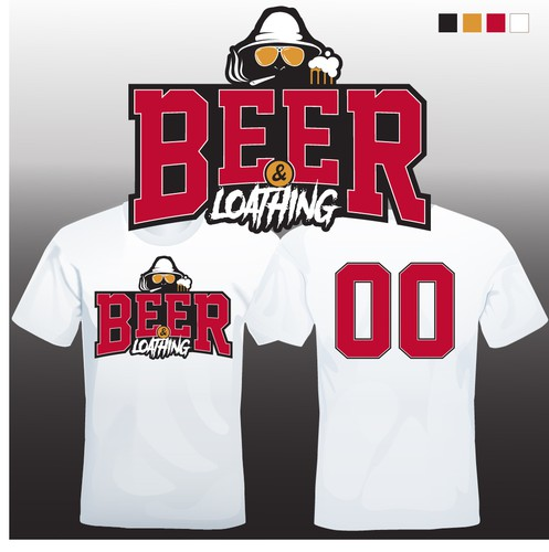 Softball design with the title 'Beer & Loathing Jersey Design'