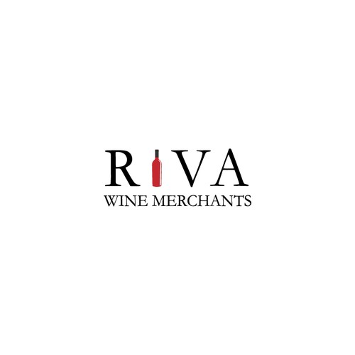 Wine bottle logo with the title 'logo for RIVA WINE MERCHANTS'