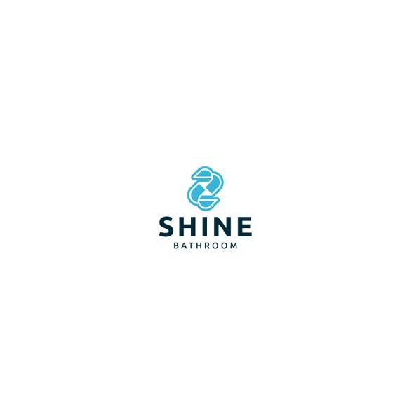 Toilet logo with the title 'Shine Bathroom Logo Design'