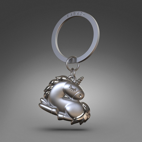 Souvenir design with the title 'Creation and 3D modeling of a silver unicorn keychain'