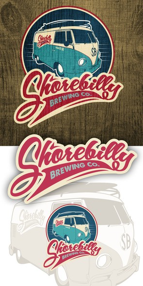 Bus logo with the title 'Retro / Groovy / Beachy style logo for brewing company!'