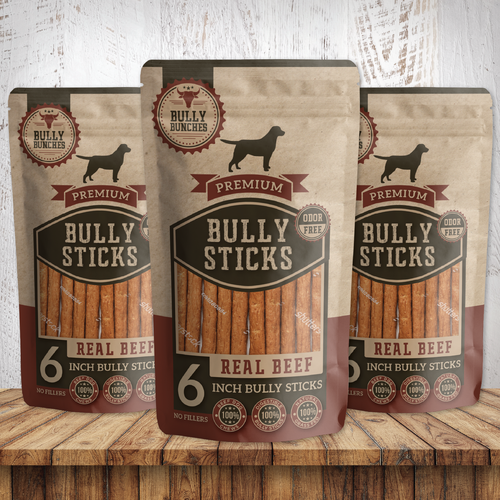 Unique packaging with the title 'Bully Sticks'