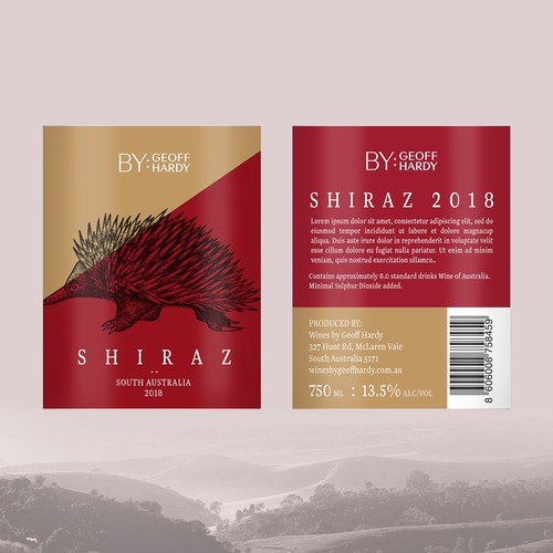 Shiraz label with the title 'Wine Label'