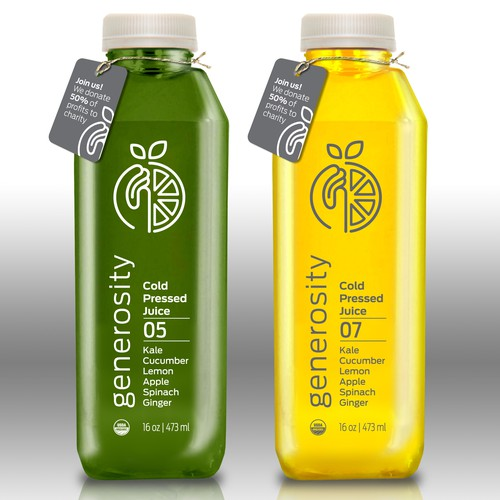 Health label with the title 'Cold Pressed Juice Logo & Label Design'