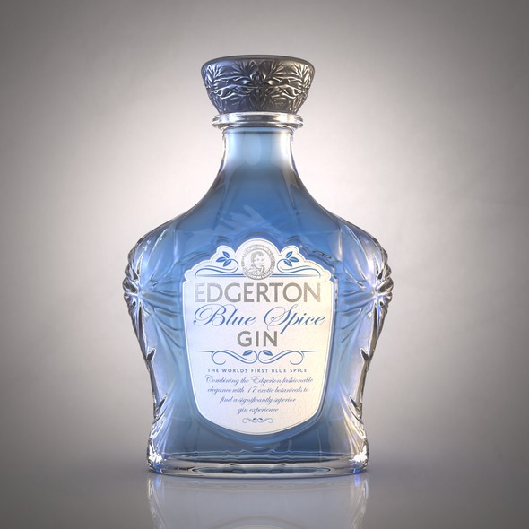 Gin packaging with the title 'Re-Design a luxury blue Gin'
