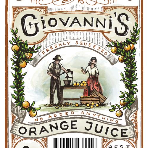 Botanical design with the title 'Orange Juice label'