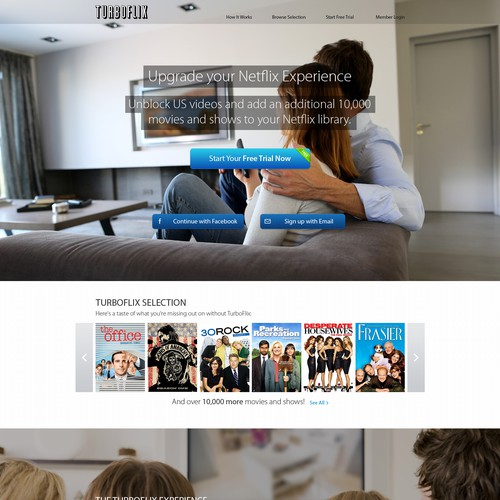 Contemporary website with the title 'Modern Landing Page Design for TurboFlix '