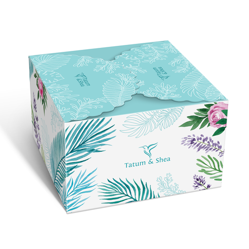 Subscription box design with the title 'Botanical hand drawn design. Box packaging design with floral hand-drawn watercolor illustration.'