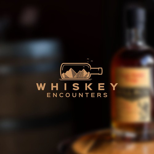 Whiskey bottle logo with the title 'Logo for Whiskey Encounters'