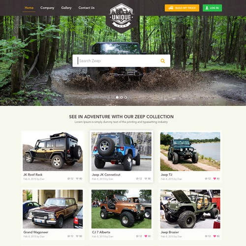 Collection design with the title 'Design for Unique Jeep '
