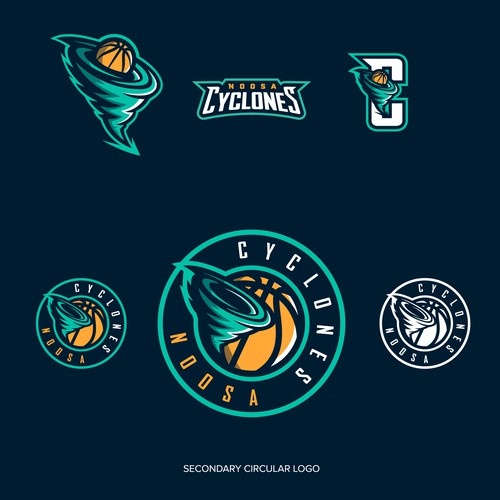 Basketball logo with the title 'Noosa Cyclones'
