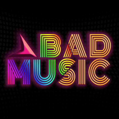 Neon logo with the title 'Help BAD MUSIC with a new logo'