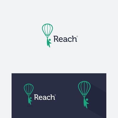 Hot air balloon design with the title 'Reach Application Logo Design'