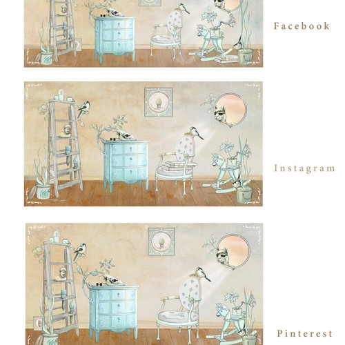 Llama design with the title 'social media banners for Good Bones Paint'