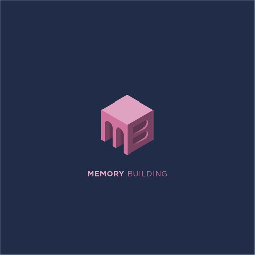 Isometric logo with the title 'Memory Building Logo'