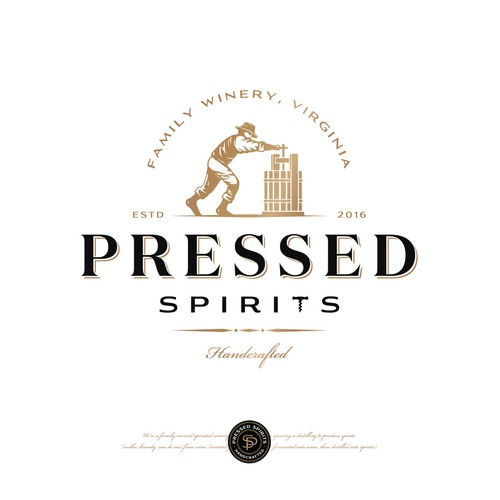 Retro logo with the title 'Pressed Spirits distilling co'