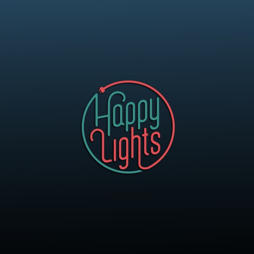 Red and green design with the title 'Happy Lights Company'