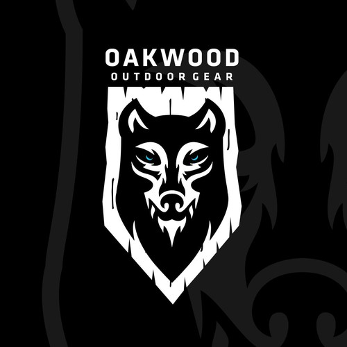 Husky design with the title 'Oakwood Outdoor Gear - Wolf Logo Design'