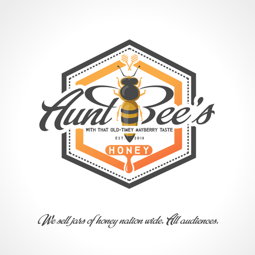 Honeycomb logo with the title 'Bold logo concept for honey production'