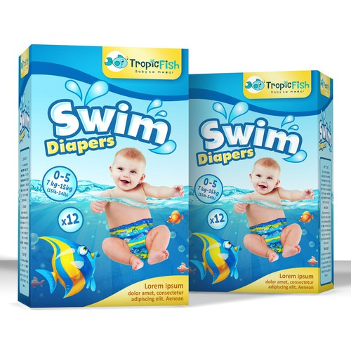 Toy packaging with the title 'Fun package design concept for swim diapers'