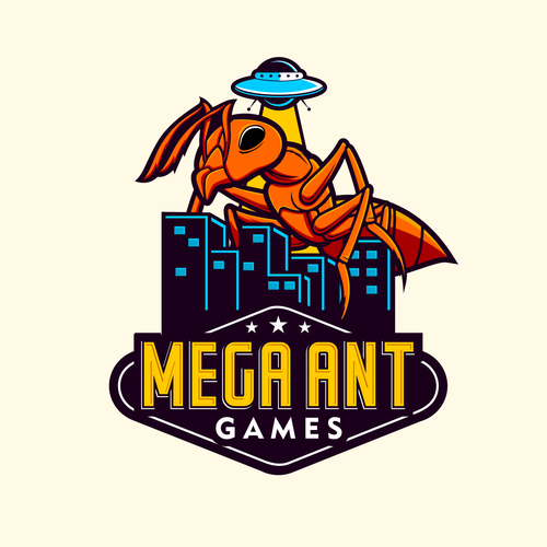 Retro logo with the title 'Mega Ant Logo'