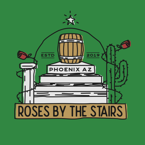 Desert logo with the title 'Roses by the stairs Brewery'