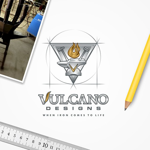 Hammer logo with the title 'Vulcano Designs Logo'