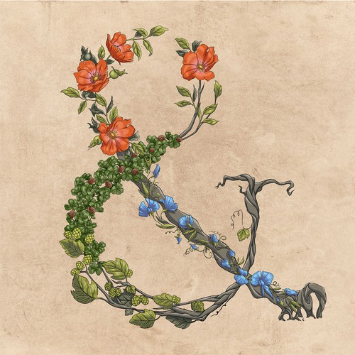 Rose artwork with the title 'Floral Ampersand'