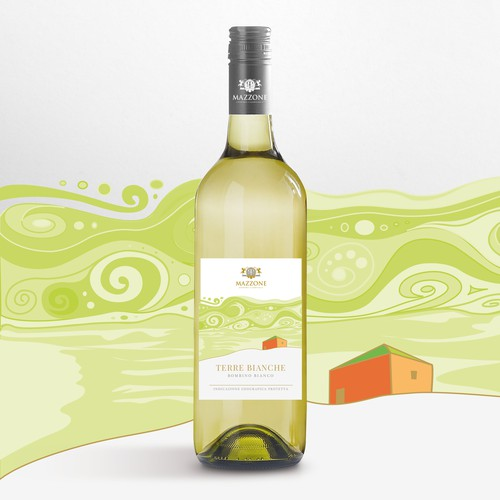 Vino design with the title 'Etichetta creativa e artistica per il vino Terre Bianche'
