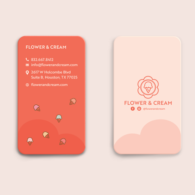 Business card for flower&cream ice cream shop
