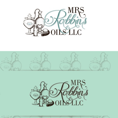 Bottle logo with the title 'MRS Robbins oils LLC'