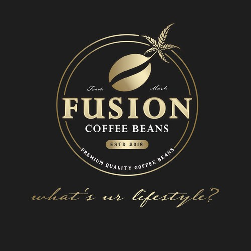 Coffee logo with the title 'FUSION COFFEE BEANS'