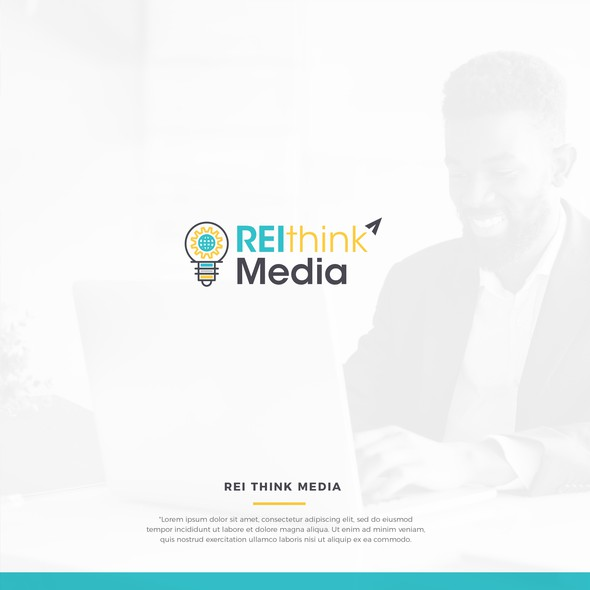 Online marketing design with the title 'REI Think Logo'