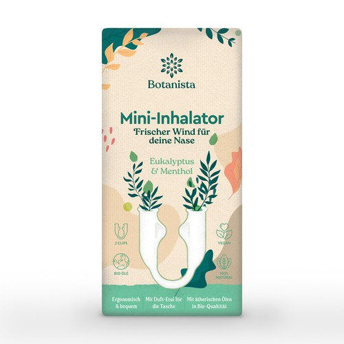 Botanical packaging with the title 'Botanista Mini-Inhalator'