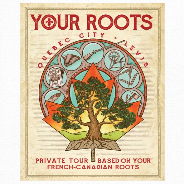 Engraving artwork with the title 'Your Roots'