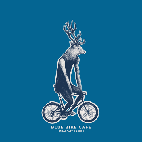 Metal artwork with the title 'Blue Bike Cofe'