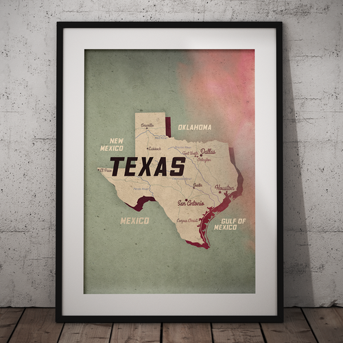 Poster artwork with the title 'Map-Texas design'