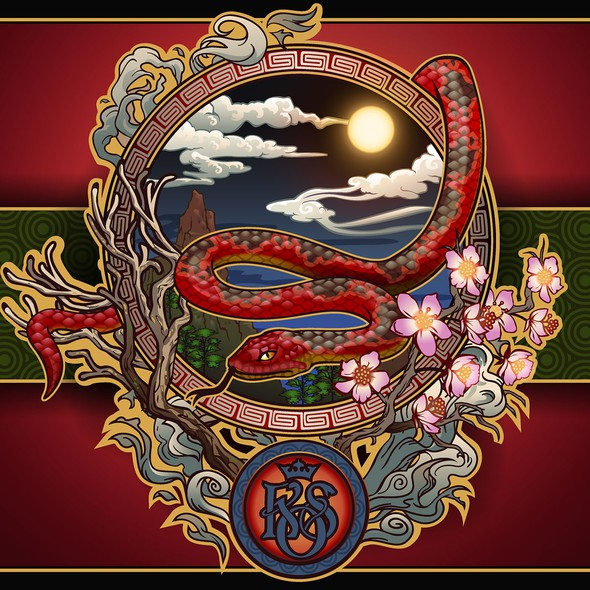 Chinese artwork with the title 'Oriental illustration for King of Snake menu.'