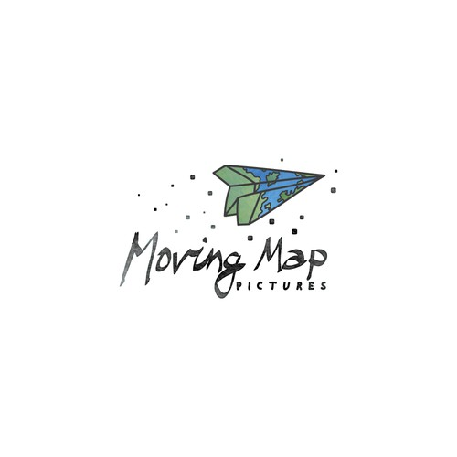 Map logo with the title 'Hand drawn logo for the video production company'