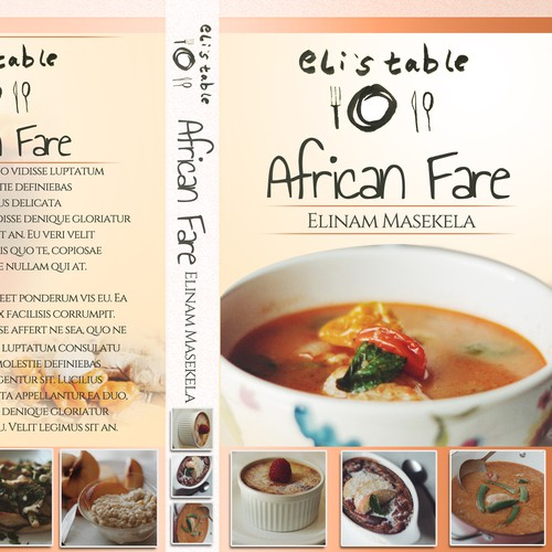 Recipe book cover with the title 'Trendy African Cookbook Design'