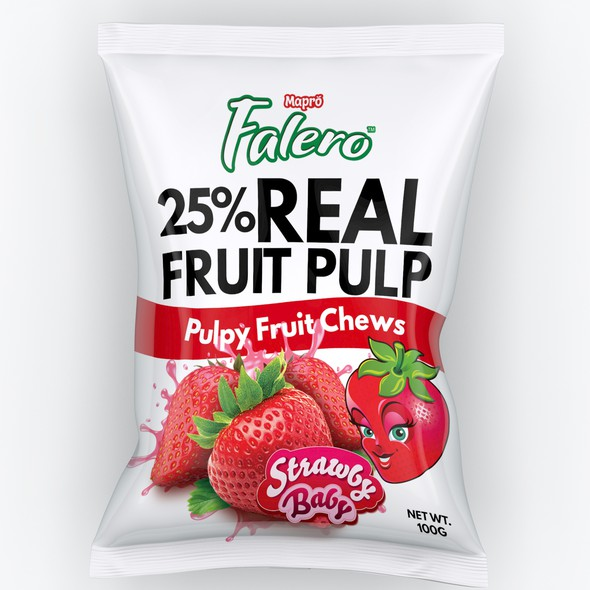 Snack packaging with the title 'Fruity Chews Packaging design'