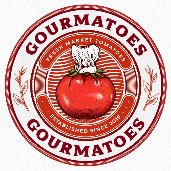 Vintage circle logo with the title 'Gourmatoes'