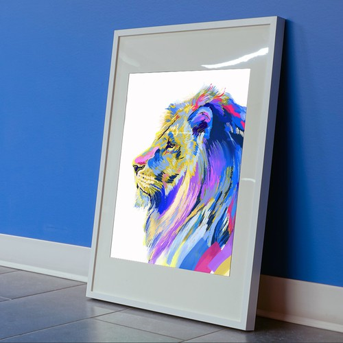 Digital media design with the title 'Lion - Digital Painting'