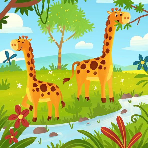 Vibrant artwork with the title 'Giraffe coloring book for kids '