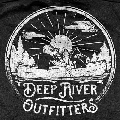 Fishing t-shirt with the title 'Deep River Outfitters Clothing and Gear T-shirt'